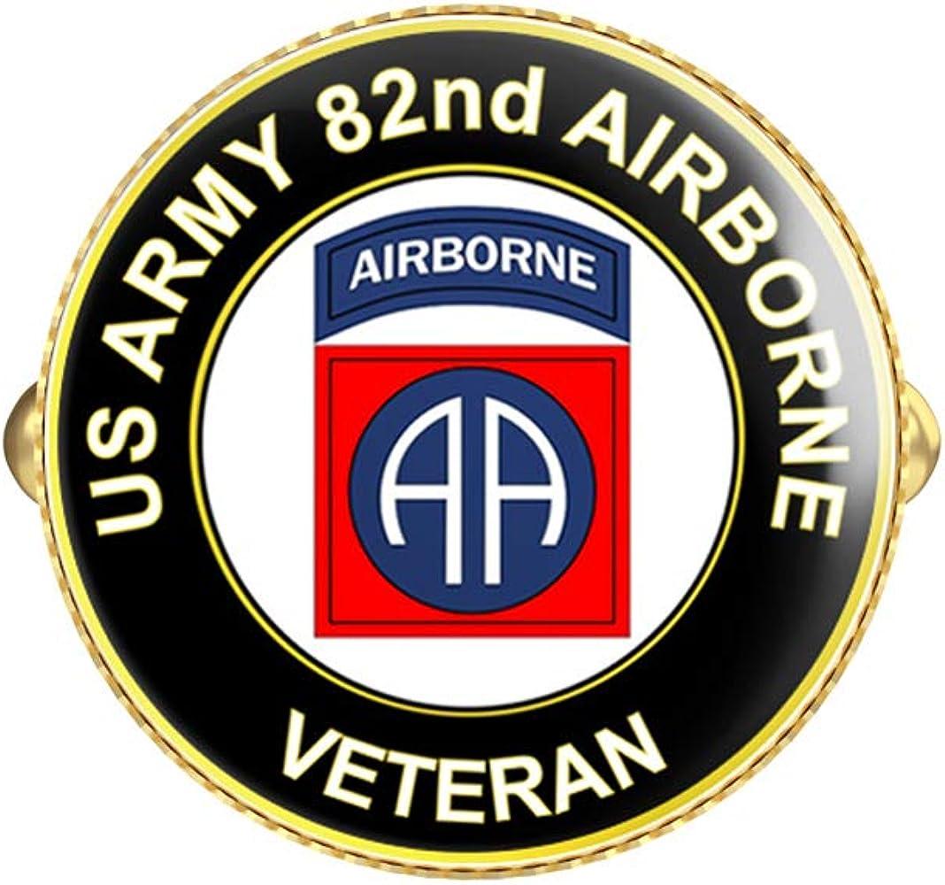 HOF Trading US Army Veteran 82nd Airborne Round Gold Cufflink Set