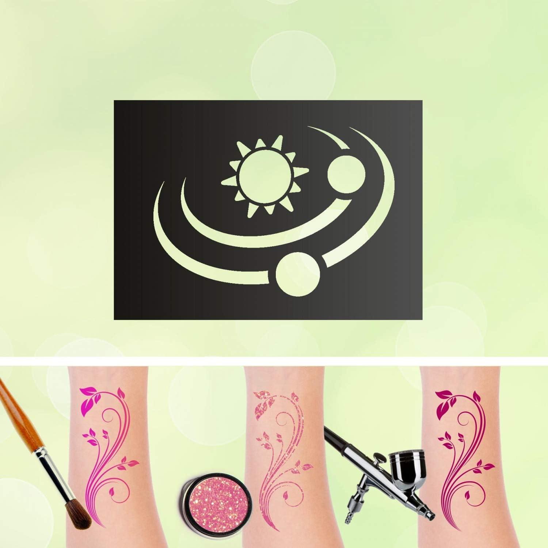 Plantilla para tatuaje, sistema solar, sol, estrellas ...