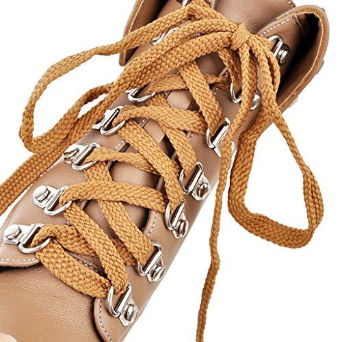 YE Damen Ankle Boots Blockabsatz High Heels Gefütterte Stiefeletten Plateau mit Schnürsenkel und Nieten Warm Modern Schuhe Braun