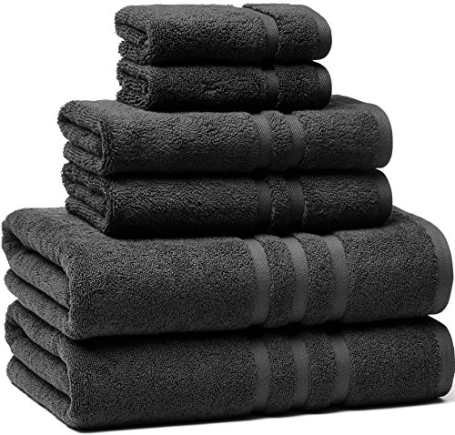 Premium, Luxury Hotel & Spa, Turkish Cotton 6-Piece Towel Set for Maximum Softness and Absorbency by American Veteran Towel, Charcoal Grey