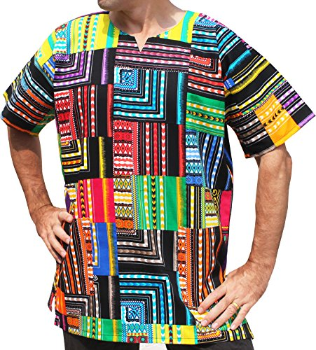 ahMuang Brand Africa Dashiki Quilt Cotton Patchwork - Afrikan Shirt, X-Large, multicolour Borders (Cotton Dashiki)