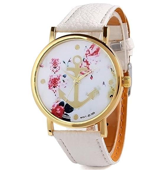 HITOP Vintage Retro Flores flores de cerezo Anclas Diseño Especial Reloj Casual Cuarzo Patrón Anclas Correa
