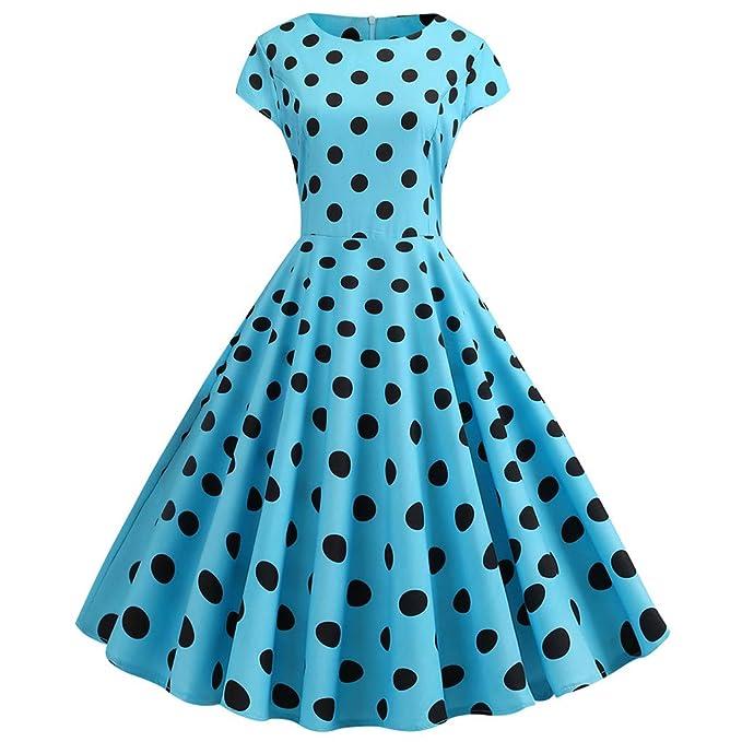 IZZB Mode Damen Sommer Partykleid Vintage 1950er Jahre Retro Kurzarm Dot Print Abend Prom Swing Freizeitkleid Abendkleid Cock