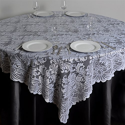 Christmas Tablescape Décor - White or ivory floral lace table top overlay