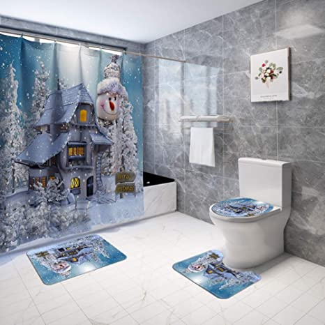 Amazon Com Artifun Christmas Bathroom Decorations Sets With Rugs Toilet Seat Cover Rug Shower Curtain Sets White Snowman Snow Bathroom Decor Home Kitchen