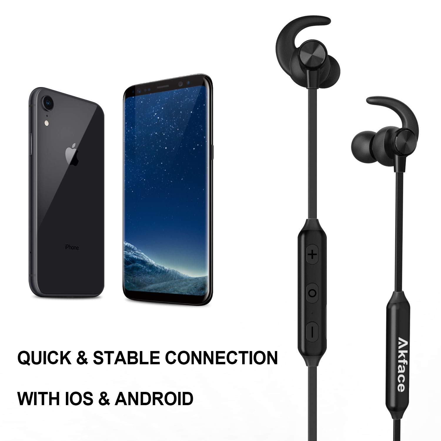 Bluetooth Headphones, Akface Wireless Earbuds Sweatproof Sport Earphones w/Mic Bluetooth 5.0 Fast Pairing HD Stereo Noise Canceling Magnetic in-Ear Headsets for Gym Running Workout Men Women Students by akface (Image #2)