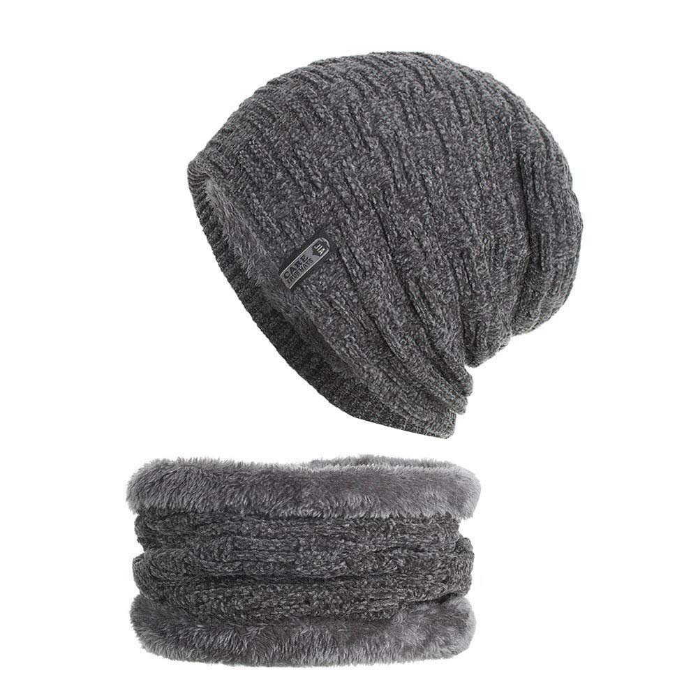 URIBAKE 2PCS Set Unisex Knitted Thick Cap Hedging Head Hat Beanie Warm Caps+Neck  Warmers Suit at Amazon Women s Clothing store  fd984f5577c5