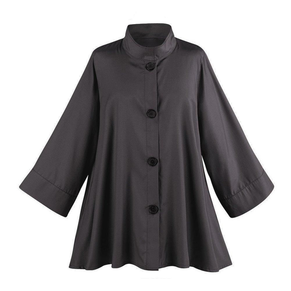 Women's Iridescent Fashion Swing Jacket - Button Down - Black - XXL by Breeke & Company