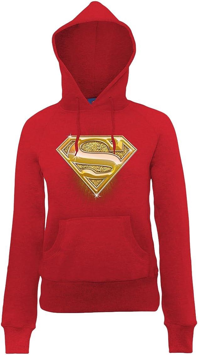 DC Comics Official Superman Bling Logo Womens Hooded Sweatshirt Sudadera para Mujer