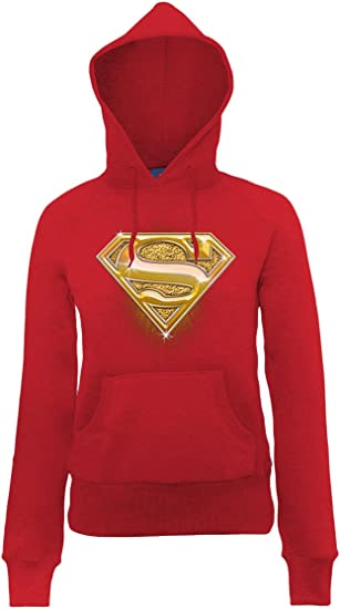 TALLA XL (Talla fabricante: XL). DC Comics Official Superman Bling Logo Womens Hooded Sweatshirt Sudadera para Mujer