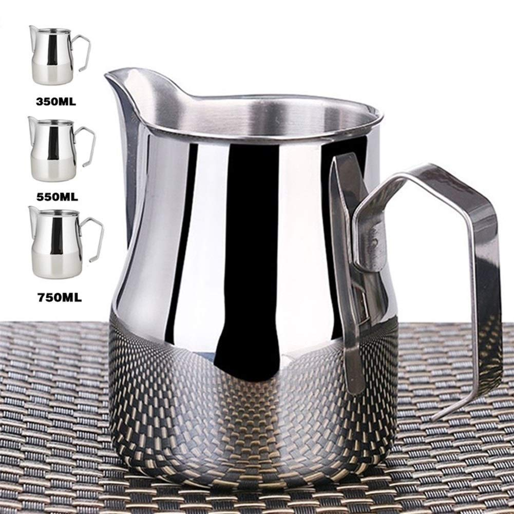 XIAOLAOBIAO Stainless Steel Milk Frothing Jug Thick Coffee Milk Foamer Mugs Italian Latte Art Jug Milk Pitcher Frother Cup 350/550/750Ml (Color : 550ml, Size : M) by XIAOLAOBIAO