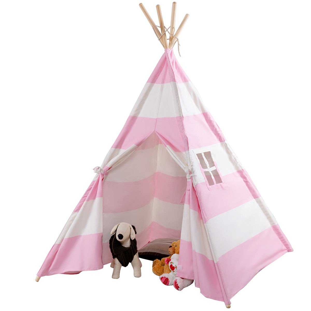 COSTWAY Kids Indian Play Tent Teepee Children Girl Boy Play House Sleeping Dome Bag Pink + FREE E - Book Only By eight24hours by COSTWAY (Image #2)