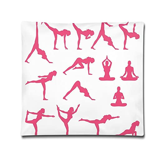 Rosa Mujer siluetas en diferentes posiciones de Yoga ...