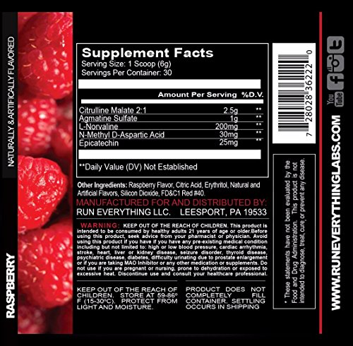 Run Everything Labs Show The World Pump Formula Powder, Raspberry, 6.9 Ounce
