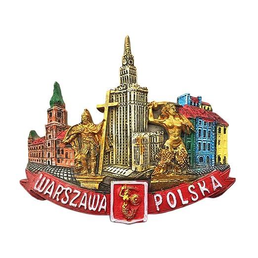 Imán para nevera, diseño de Polonia de Varsovia, decoración para ...
