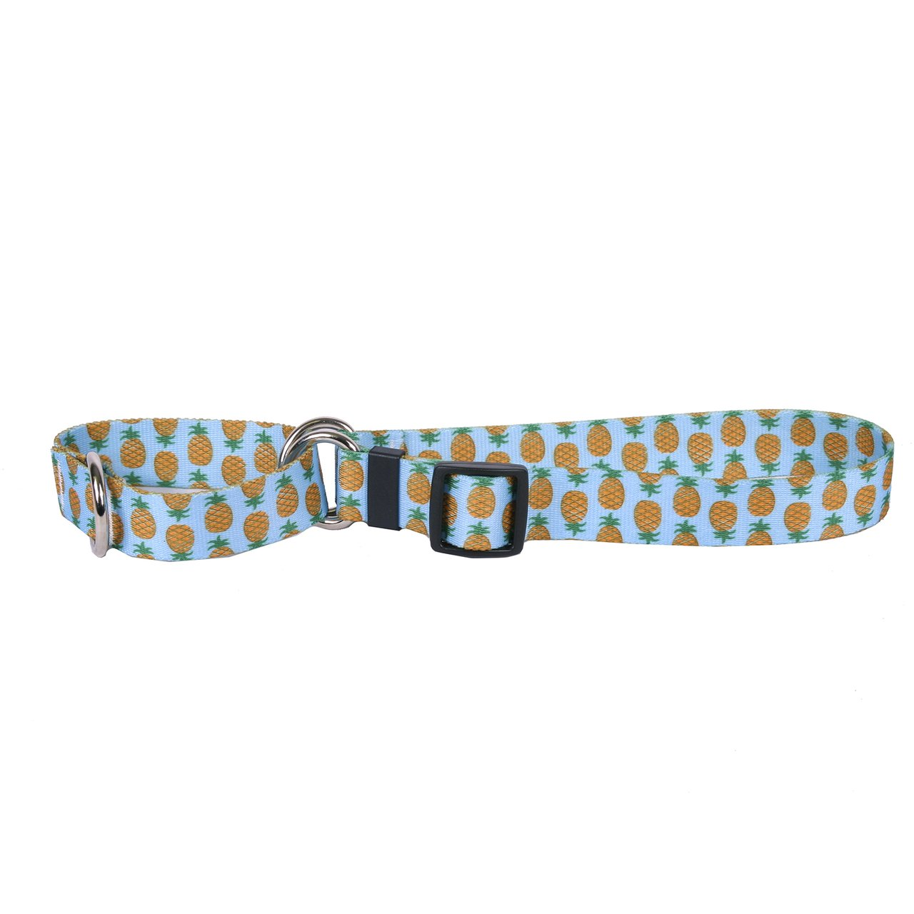 Yellow Dog Design Pineapples Blue Martingale Dog Collar, Medium-1'' Wide and fits neck sizes 14 to 20''