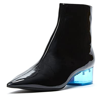 df3a5522c557 Jeffrey Campbell Luminous Black Patent Pointy Toe Boot Lucite Cube Heel 7.5