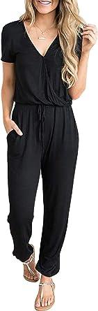 PRETTYGARDEN Women's Summer Casual Deep V Neck Short Sleeve Wrap Drawstring Waist Jumpsuit Romper with Pockets