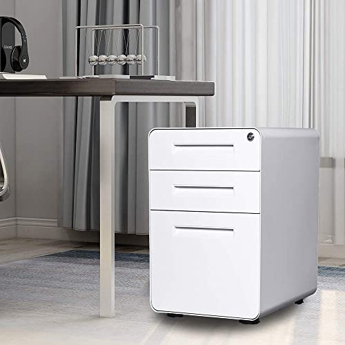 Romatpretty File Cabinet,3 Drawer Mobile File Cabinet,Office Cabinet,Office Drawer,Metal Filing Cabinet,with Lock,Wheels,for Letter File and Commercial Grade Office Legal,White.