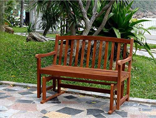 2-Seater Outdoor Glider Bench Made of Acacia Hardwood in Brown Finish 46.5L x 26.8W x 35.5H in. - 2 Seater Glider
