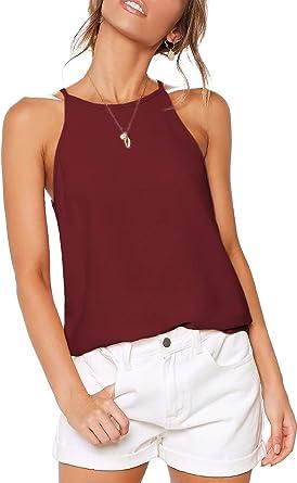 LouKeith Camisetas sin Mangas con Espalda Cruzada, Casuales, de Verano, Sueltas, para Playa, Sexy, para Mujer