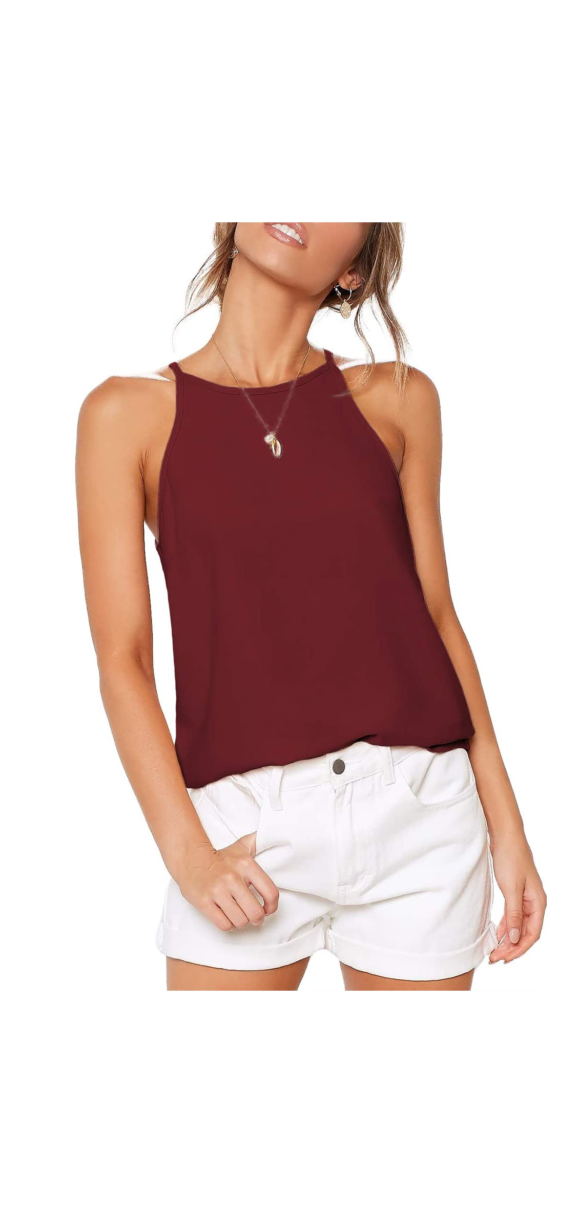 Womens Shirts Halter Neck Racerback Tank Top Summer Casual
