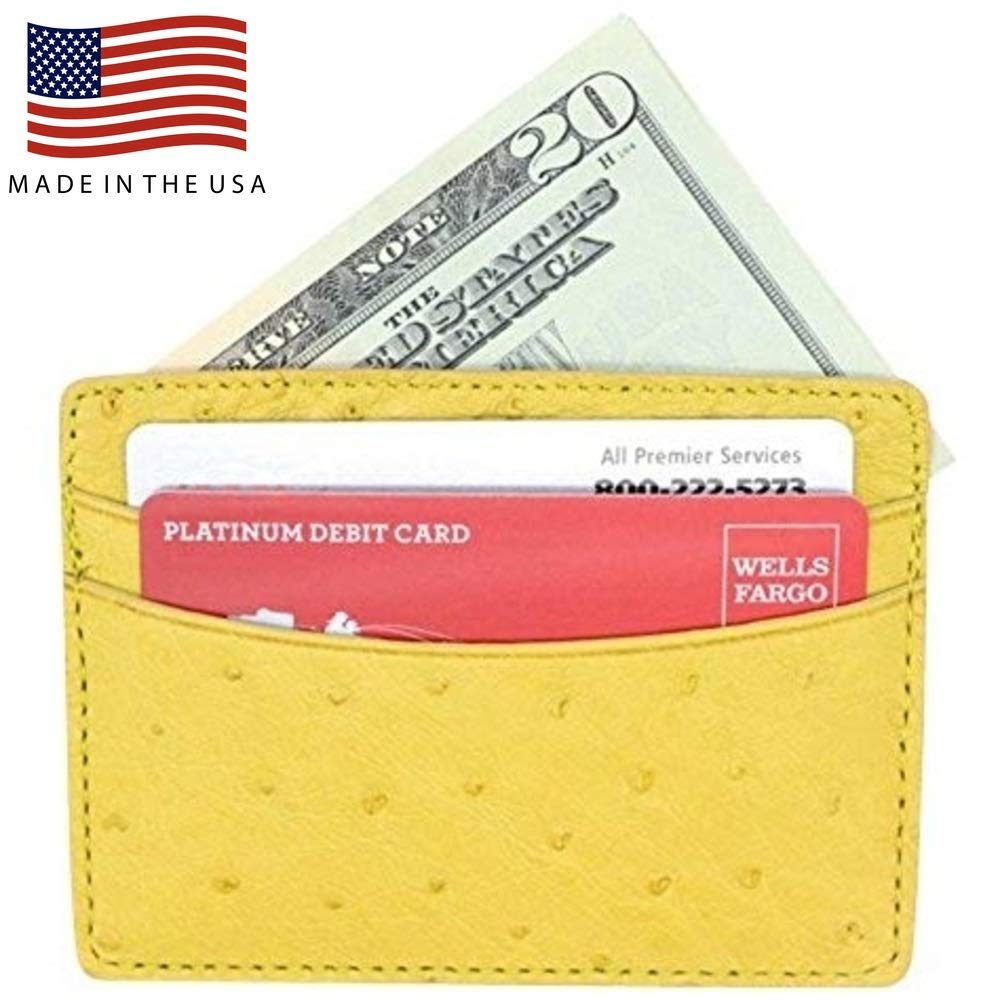 Yellow Genuine Ostrich Skin 5 Pocket Card Case - American Factory Direct - Front Pocket Wallet - Made in USA by Real Leather Creations FBA189