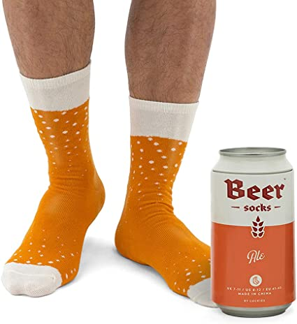 Luckies of London Calcetines divertidos para hombres, en lata de cerveza, Naranja, 41-45 EU (7-11 UK): Amazon.es: Hogar