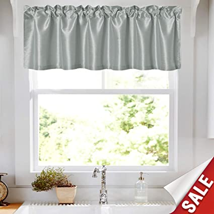 Amazon.com: Faux Silk Valance Curtains for Living Room 16 inch ...