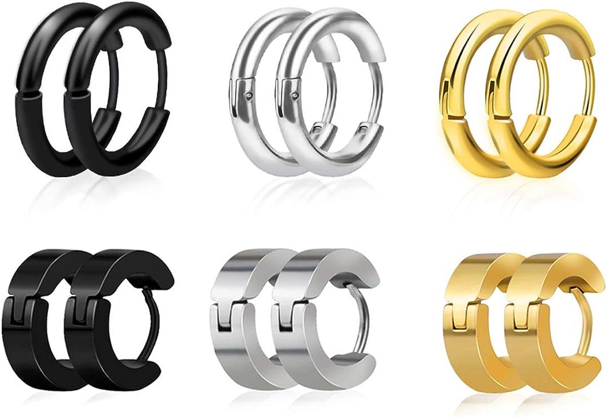 KWUNCCI 316L Surgical Stainless Steel Huggie Hoop Earrings for Men Women, 6 Pairs