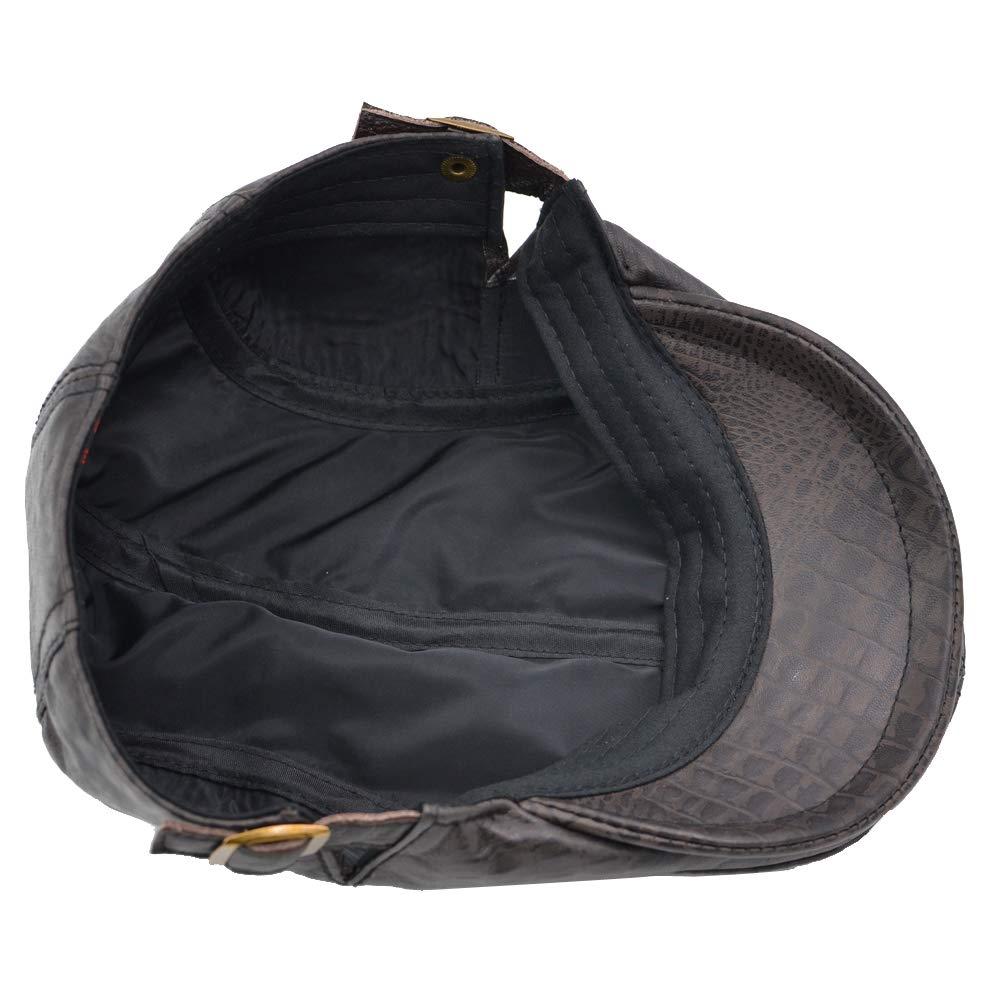 Sandy Ting Genuine Leather Flat Cap Newsboy IVY Hat Unique Cabbie Driving Cap