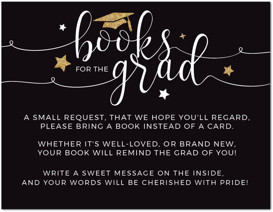 Andaz Press Black and Gold Glittering Graduation Party Collection, Books for Grad Request Cards, 20-Pack, Games Activities and Decorations