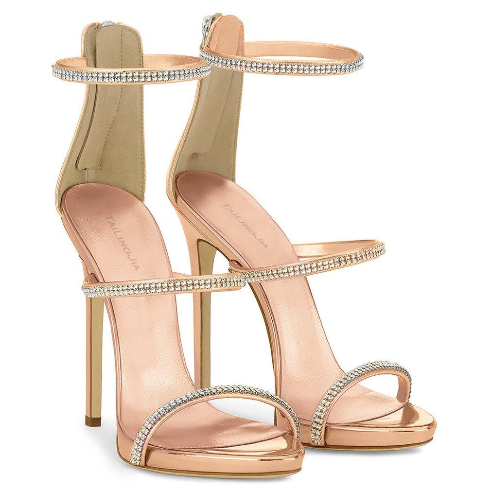 LUCKY Heels CLOVER-A High Heels LUCKY Sandaletten Frauen Braut Strass Pumps Hochzeit Court Schuhe Kleid Dating Büro Party Open Toes Schuhe Rose Gold Farbe, EU46,Gold,EU43  - a4e119