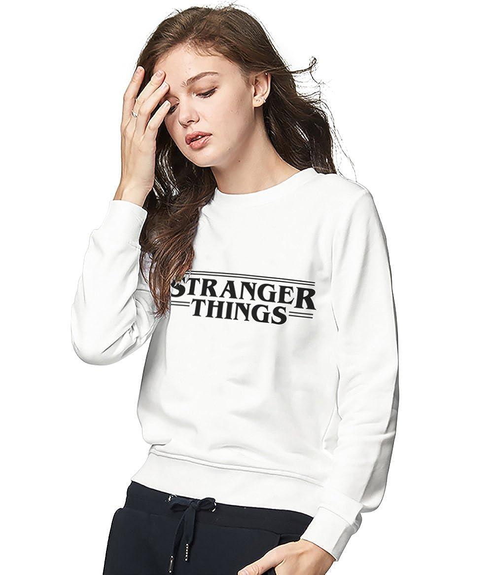 Felpa Stranger Things Logo TV Best Friend Cotone Pullover Migliori Amiche Stampa Sweatshirt Girocollo Manica Lunga Bianco Donna Sottile