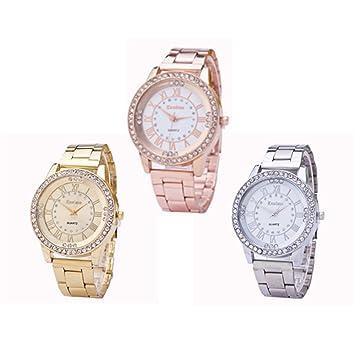 Relojes, hmlai 3 paquetes Crystal Rhinestone de la mujer hombre reloj de pulsera de cuarzo