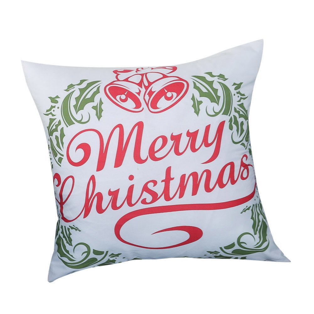PgojuniMerry Christmas Print Pillowcase Linen Cotton Throw Pillow Case Square Pillow Cover Home Decor Cushion Cover 1pc (B)