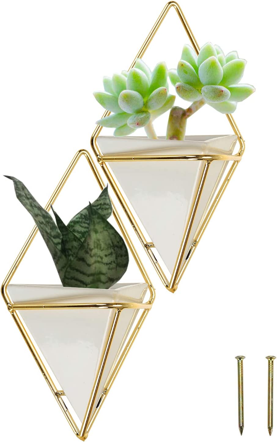 Fasmov 2 Pack Small Hanging Planter Vase & Geometric Wall Decor Container Geometric Wall Planter Container for Succulent Plants, Air Plant, Mini Cactus, Faux Plants and More Home Décor