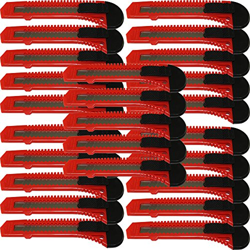 (25x Bulk Red Utility Knife Box Cutters Snap Off Blade )