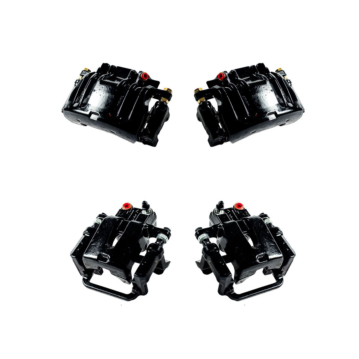 CCK01239 FRONT + REAR [ 4 ] Performance Grade Semi-Loaded Powder Coated Black Caliper Assembly Set Kit