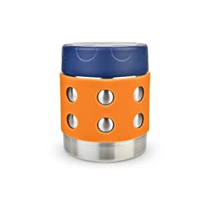 LunchBots Thermal 8 oz Triple Insulated Food Container - Hot 6 Hours or Cold 12 Hours - Leak Proof Thermos Soup Jar - All Stainless Interior - Navy Lid - Orange Dots