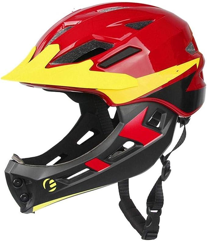 Pkfinrd Bicicleta Casco niño Cobertura Completa protección Facial ...