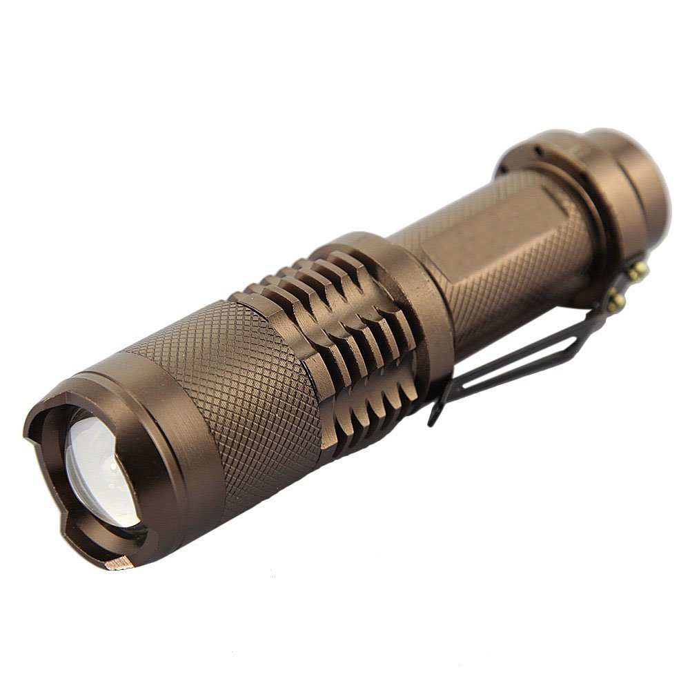 GadgetZone (US Seller) 1600 Lumen CREE XM-L T6 LED SK98 Flashlight Torch Zoomable Zoom In/Out 18650 Battery Power Supply (Battery NOT included), Bronze by WindFire®