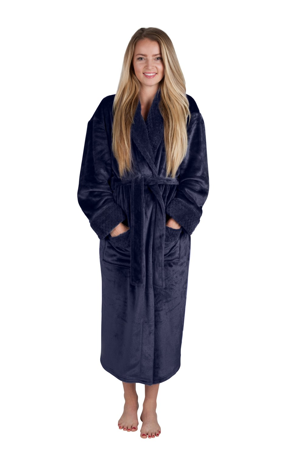Women's 48'' Spa Style Full Length Robe with Velvet Collar & Cuffs Plus Sizes Avail. (X-Large, Indigo Blue) by Love This Robe