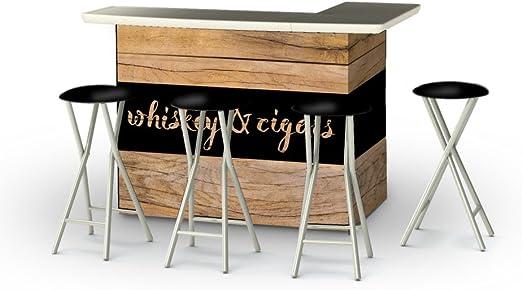 Best of Times - Mesa de Bar con taburetes, Whisky y Barra de ...