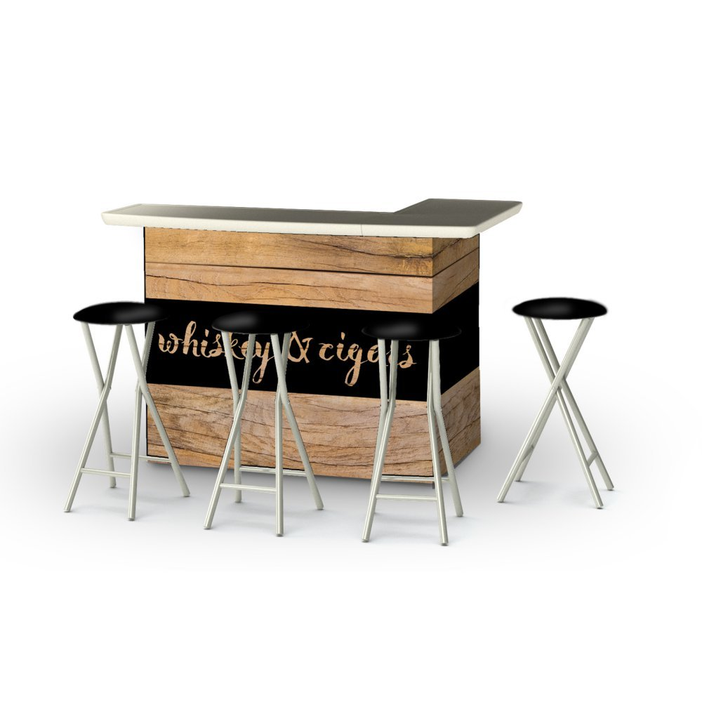 Best of Times Portable Patio Bar Table with Stools, Whiskey & Cigars Bar