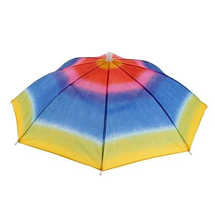 MagiDeal 1 Unidad de Paraguas Plegable Impermeable de Niños Tienda de Campaña Multiusos - Arcoiris
