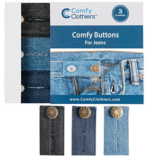Comfy Buttons for Jeans 3-pack Denim Waist Extenders for an Easy Fit (Metal Buttons)