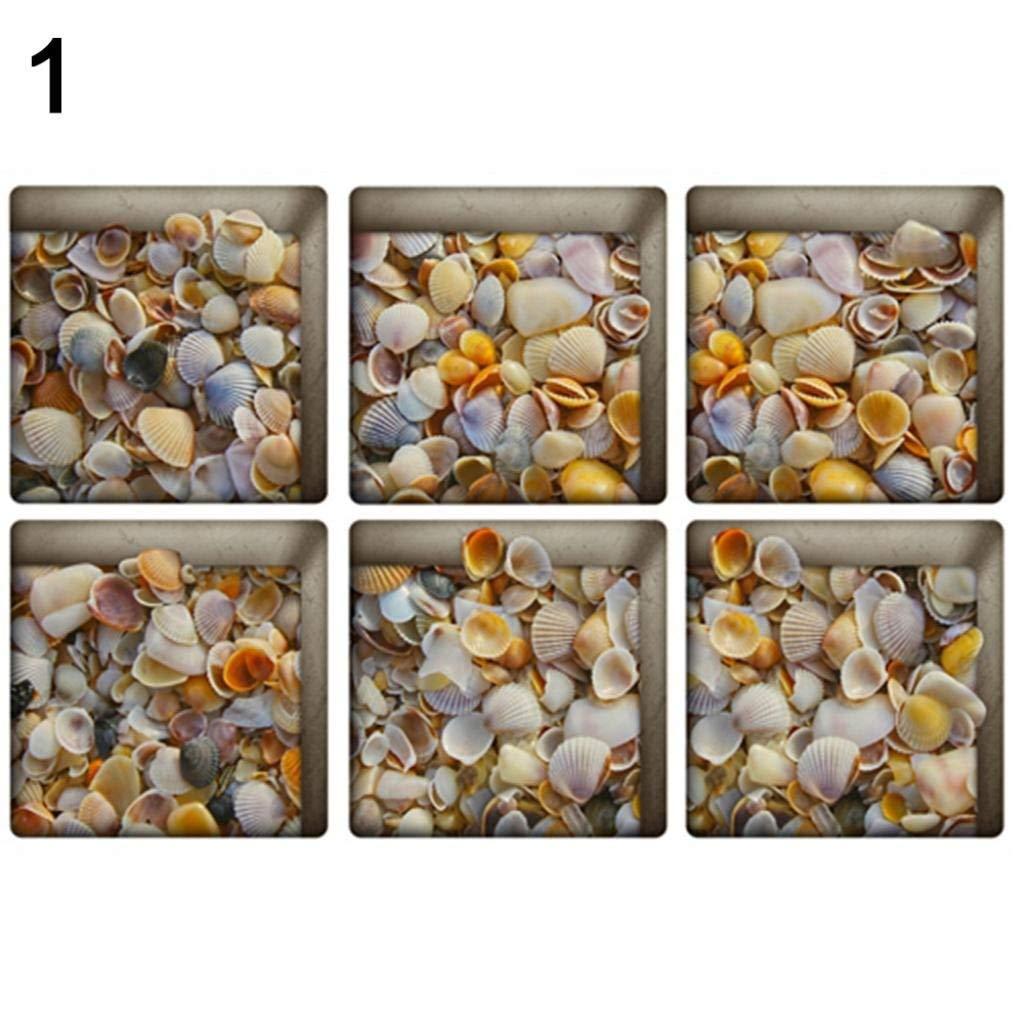 Yevison 6 Pcs Practical 3D Sea Fish Pattern Print Bathtub Stickers Waterproof Matte Film 1