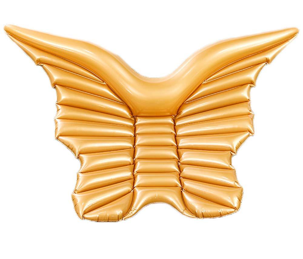 Gold ACOMG Schmetterlingsflügel Float-Matte, aufblasbare Sich hin- und herbewegende Reihe PVC-Wasserbett-Pool-Strand-Spielwaren, Weiß und Gold, die Sich hin- und herbewegende Reihe Schwimmen,Gold
