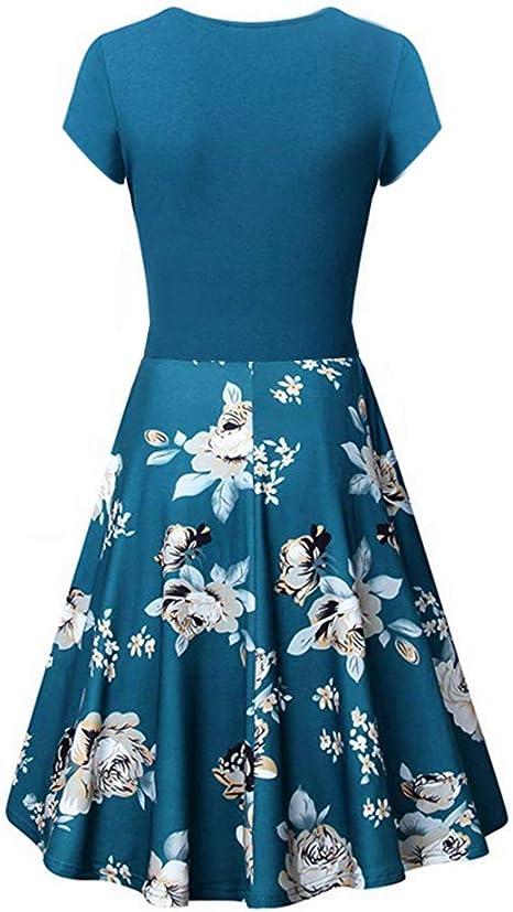 Aini Vestido Vintage De Verano Vestido Estampado Falda Delgada De Manga Corta Vestido Falda Cruzada con Cuello En V Falda De Vestir Cintura Alta PéNdulo Grande Vestido Plisado Falda: Amazon.es: Ropa y